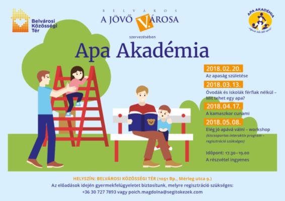 """Apa Akadémia: """"Óvodák és iskolák férfiak nélkül. Mit tehet egy apa?""""- beszélgetős előadás, 2018. 03. 13."""